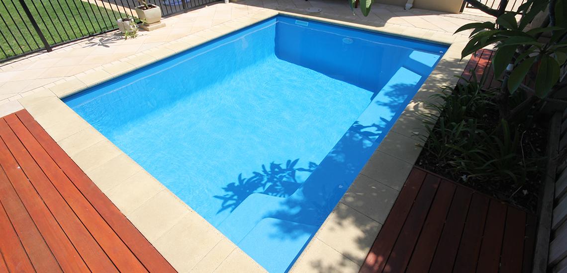 """Capri"" Fibreglass Swimming Pool with ""Pacific Blue"" Pool Colour"