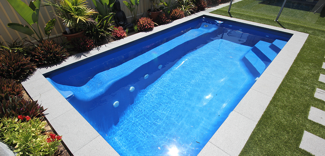 """Santa Fe"" Fibreglass Swimming Pool with ""Cyber Blue"" Pool Colour"