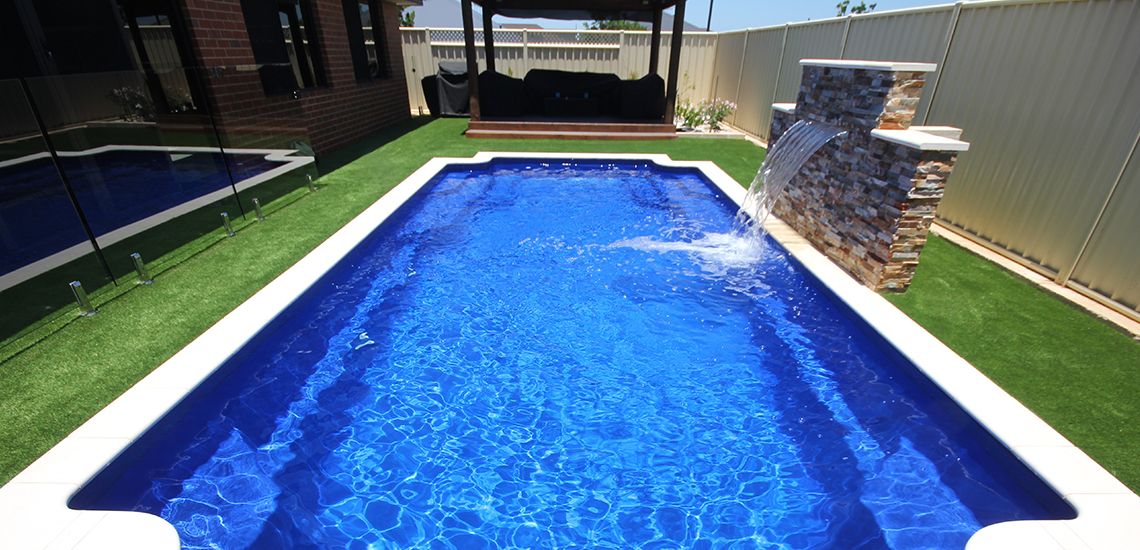 """St Tropez"" Fibreglass Swimming Pool with ""Cyber Night"" Pool Colour"