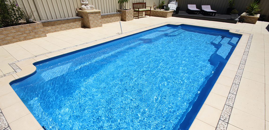 """St Tropez"" Fibreglass Swimming Pool with ""Cyber Sky"" Pool Colour"