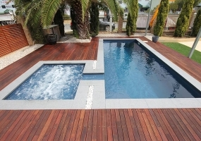 Florentina Medium Pool - 6.5m x 2.5m | Colour : Cosmic Blue with Cove Spillway Spa