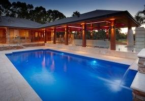 Monaco Large Fibreglass Pool -10.6m x 4.4m   Pool Colour : Assana Blue