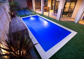 Portofino Small Fibreglass Pool - 5.5m x 2.5m | Pool Colour : Mediterranean Blue
