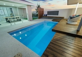 Positano Small Fibreglass Pool - 6m x 3.2m | Pool Colour : Hamptons Blue