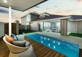 Positano Small Fibreglass Pool - 6m x 3.2m   Pool Colour : Hamptons Blue