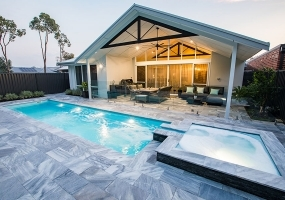 Primo Large Fibreglass Pool - 9m x 2.5m   Pool Colour : Hamptons Blue